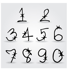Number alphabet barbwire font style vector