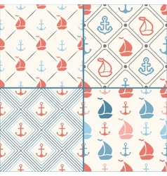 Seamless pattern set of anchor sailboat vector