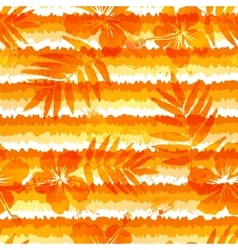 Orange bright flowers and grunge stripes seamless vector