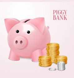Piggy bank with coins print vector