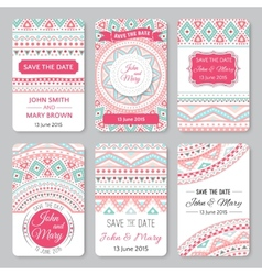 Set of perfect wedding templates with doodles vector