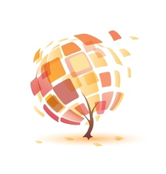 Autumn tree abstract icon vector