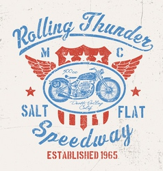 Rolling thunder vintage motorcycle graphic vector