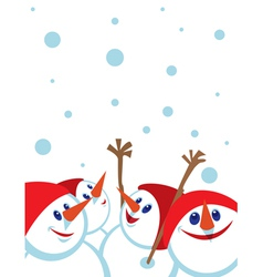 Christmas card with snowmans space for copypaste vector