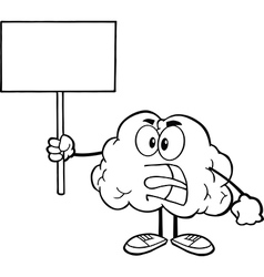 Brain holding sign vector