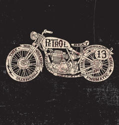 Text filled vintage motorcycle vector