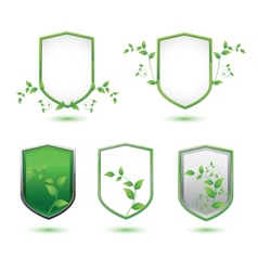 Insulated shield banner with green leaves on a vector