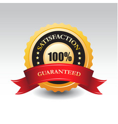 100 satisfaction guaranteed label or sign vector