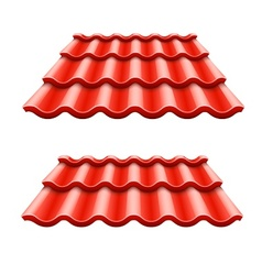 Red corrugated tile element vector