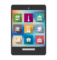 Architectural flat icons on a tablet screen vector