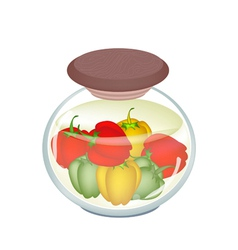 A jar of delicious pickled bell peppers vector