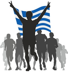 Athlete with the greece flag at the finish vector