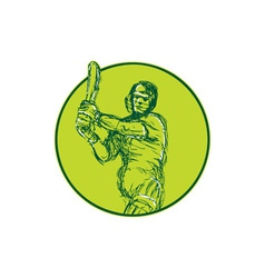 Cricket player batsman batting drawing vector