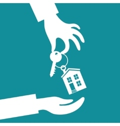 Hand real estate agent holding holds a key vector