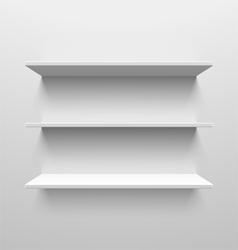 Three white shelves vector