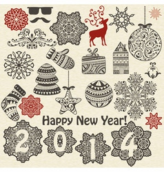 Vintage holiday design elements and snowflakes vector