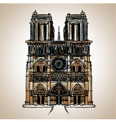 Notre dame cathedral paris vector