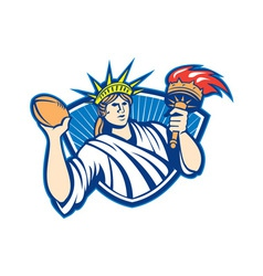 Statue of liberty throwing football ball vector