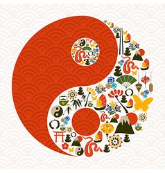 Chinese new year of the snake yin yang vector