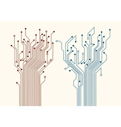 Two abstract circuit trees vector