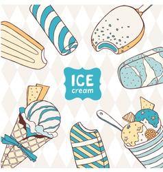 Ice creams drawings vector