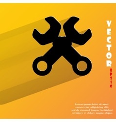 Wrench tool to work flat modern web button with vector