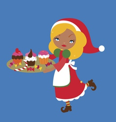 Cute santa assistant with christmas cupcakes vector