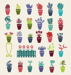 Garden flowers and herbs pot plants icons set - vector