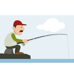 A fisherman holding a fishing pole vector
