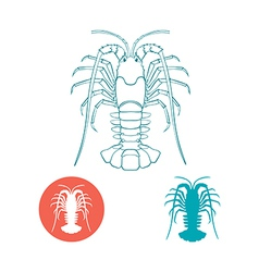 Crayfish silhouette and flat icon vector