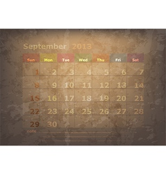 Antique calendar of september vector