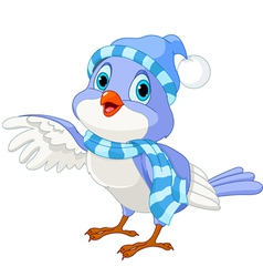 Cute winter bird vector