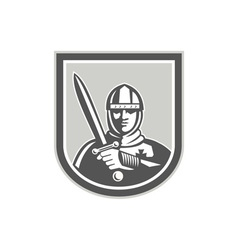 Crusader knight with sword front crest vector