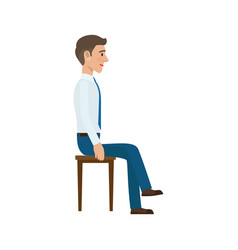 Man Sitting On Chair In Suit Side View Isolated Vector Image