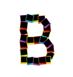 Alphabet b with colorful polaroids vector