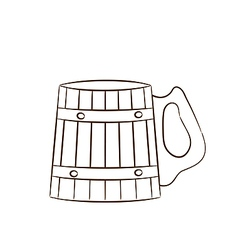 Wooden mug with beer vector