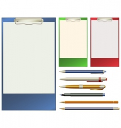 Clip pad and pens vector