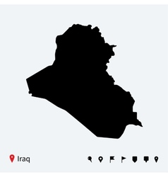 High detailed map of iraq with navigation pins vector