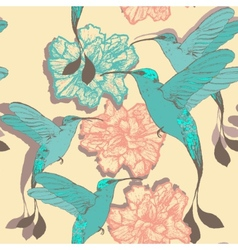 Seamless pattern with colibri birds and flowers vector