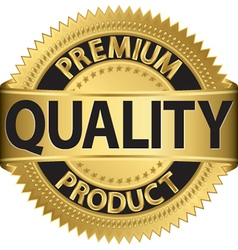 Premium quality product gold label vector