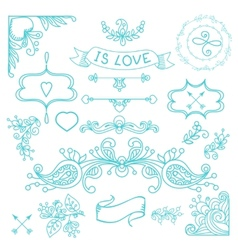 Vintage label set hand-drawn doodles vector
