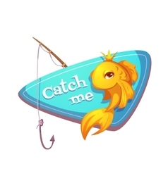 Cut gold fish with fishing vector