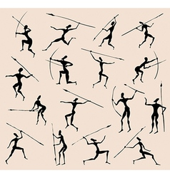 Cave rock painting tribal people silhouettes set vector