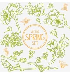 Spring branches set vector