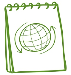 A green notebook with a drawing of a globe at the vector