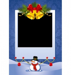 Christmas photo frame vector