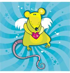 Valentine's day cupid rat vector