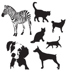 Animal silhouette set vector