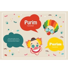 Card for jewish holiday purim with clown and vector