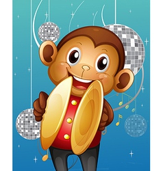 A monkey with cymbals in a disco house vector